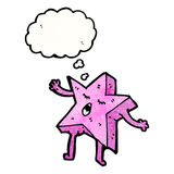 cartoon pink star with thought bubble Stock Image