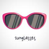 Cartoon pink sunglasses. Cartoon logo pink sunglasses. Vector illustration on a white background Stock Photo