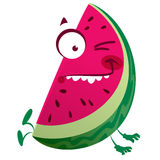 Cartoon pink watermelon fruit character making a crazy face. Cartoon pink red watermelon fruit character jumping making a crazy face Stock Photo