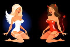 Cartoon pinup girl in angel or devil costume Stock Photos