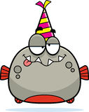Cartoon Piranha Drunk Party. A cartoon illustration of a piranha with a party hat looking drunk Stock Photo
