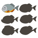 Cartoon piranha. Find the right shadow image. Educational games for kids.Vector stock illustration Royalty Free Stock Images