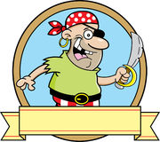 Cartoon pirate with a banner. Royalty Free Stock Photography