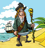 Cartoon pirate on a beach Stock Image