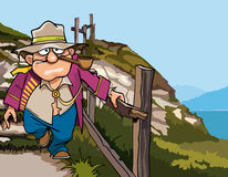 Cartoon pirate beggar down the stairs from the mountain Royalty Free Stock Image