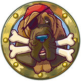 Cartoon Pirate Bloodhound Dog with Bones in Porthole. Vector cartoon clip art illustration of a pirate bloodhound dog head in a porthole with crossed bones in stock illustration