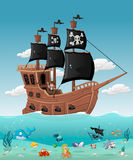 Cartoon pirate boy. On a ship with fish and mermaid under water Stock Photography