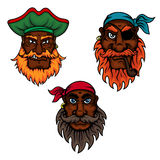 Cartoon pirate captain and sailors heads Royalty Free Stock Images