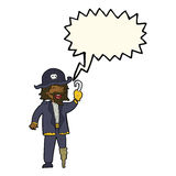 Cartoon pirate captain with speech bubble Royalty Free Stock Images