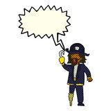 Cartoon pirate captain with speech bubble Stock Images