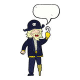 Cartoon pirate captain with speech bubble Royalty Free Stock Photos