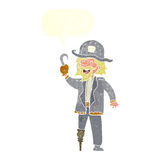 Cartoon pirate captain with speech bubble Royalty Free Stock Photography