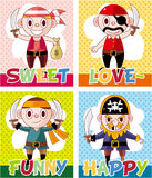 Cartoon pirate card Stock Photo