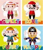 Cartoon pirate card Stock Photo