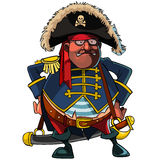 Cartoon pirate in a cocked hat and jacket. With saber Royalty Free Stock Photo