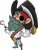 Cartoon pirate with cutlass and eye patch. Isolated on white Royalty Free Stock Photo