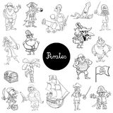 Cartoon pirate fantasy characters collection. Black and White Cartoon Illustration of Pirates Fantasy Characters Set Royalty Free Stock Photo
