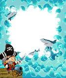 Cartoon pirate frame for different usage Royalty Free Stock Image