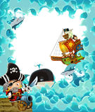 Cartoon pirate frame for different usage Stock Photo