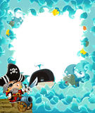 Cartoon pirate frame for different usage Royalty Free Stock Images