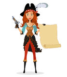 Cartoon pirate girl with powder gun and scroll isolated on a white background. Vector. Stock Images
