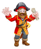 Cartoon Pirate Holding Map Stock Images