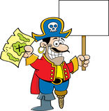 Cartoon pirate holding a sign Stock Photos