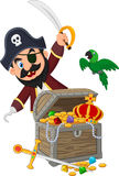 Cartoon pirate holding sword Stock Photos