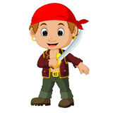 Cartoon pirate holding a sword. Illustration of Cartoon pirate holding a sword Stock Photo