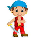 Cartoon pirate holding a sword. Illustration of Cartoon pirate holding a sword Royalty Free Stock Images