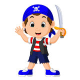 Cartoon pirate holding a sword. Illustration of Cartoon pirate holding a sword Royalty Free Stock Photo
