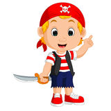 Cartoon pirate holding a sword. Illustration of Cartoon pirate holding a sword Royalty Free Stock Photos