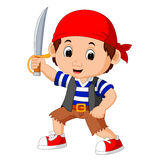 Cartoon pirate holding a sword. Illustration of Cartoon pirate holding a sword Stock Photography