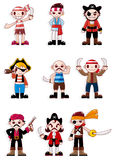 Cartoon pirate icon. Vector drawing Royalty Free Stock Images