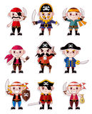Cartoon pirate icon set Stock Photos