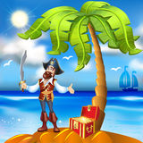 cartoon pirate island and treasure chest with go Stock Image