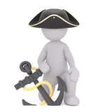 Cartoon Pirate Kneeling with Anchor on Rope. Generic Gray 3d Cartoon Figure Wearing Pirate Hat and Kneeling with Anchor on Rope in front of White Background Royalty Free Stock Image