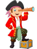 Cartoon pirate looking through binoculars Royalty Free Stock Photo