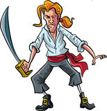 Cartoon pirate mate swordsman. With a ponytail Royalty Free Stock Images