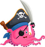 Cartoon pirate octopus Stock Photos