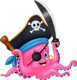 Cartoon pirate octopus Royalty Free Stock Photography