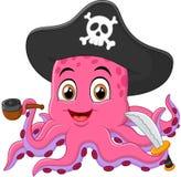 Cartoon pirate octopus Royalty Free Stock Photos