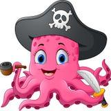 Cartoon pirate octopus Royalty Free Stock Photography
