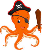 Cartoon pirate octopus Stock Photography