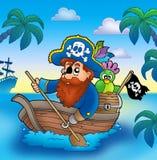 Cartoon pirate paddling in boat Stock Image