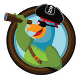 Cartoon pirate parrot looks out of the porthole Stock Photography
