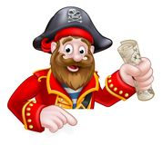 Cartoon Pirate. A cartoon pirate peeking over a sign and pointing down holding a treasure map Stock Images