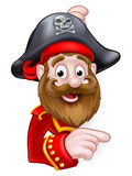 Cartoon Pirate Peeking and Pointing Stock Images