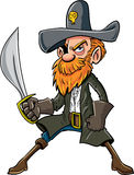 Cartoon pirate with a sabre Stock Photography