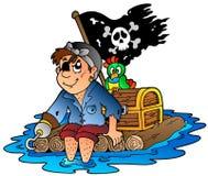 Cartoon pirate sailing on raft. Illustration Royalty Free Stock Image